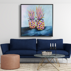 Framed 48 x 48 - Funny pineapples with sunglasses
