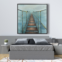 Framed 48 x 48 - Old and dangerous bridge