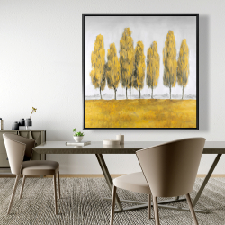 Framed 48 x 48 - Abstract yellow trees