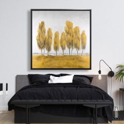 Framed 48 x 48 - Seven abstract yellow trees