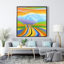 Framed 48 x 48 - Mountain road multicolored