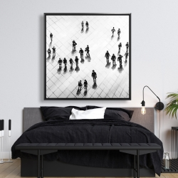 Framed 48 x 48 - Overhead view of people on the street