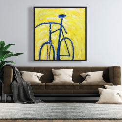 Framed 48 x 48 - Blue bike on yellow background