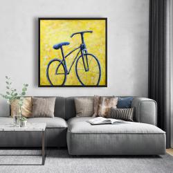 Framed 48 x 48 - Blue bike abstract