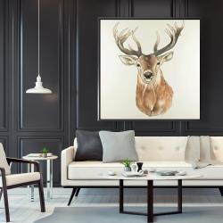 Framed 48 x 48 - Front deer portrait