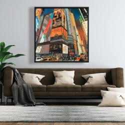 Framed 48 x 48 - Illuminated new york city street