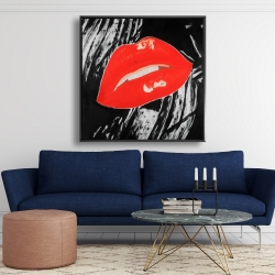 Framed 48 x 48 - Kissable glossy lips on a black background