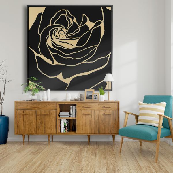 Framed 48 x 48 - Cutout black rose