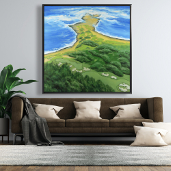 Framed 48 x 48 - Island overhead view with waves