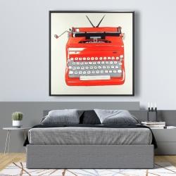 Framed 48 x 48 - Red typewritter machine