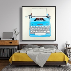 Framed 48 x 48 - Blue typewritter machine