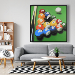 Framed 48 x 48 - Pool table with ball formation