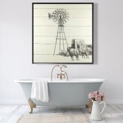 Framed 48 x 48 - Vintage old texas windmill