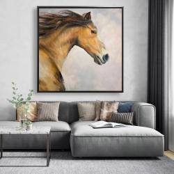 Framed 48 x 48 - Proud steed with his mane in the wind