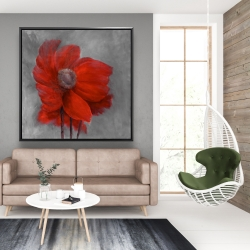 Framed 48 x 48 - Red flower in the wind