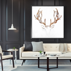Framed 48 x 48 - Wood looking deer head