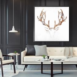 Framed 48 x 48 - Wood looking deer head