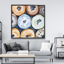 Framed 48 x 48 - Watercolor doughtnuts with icing
