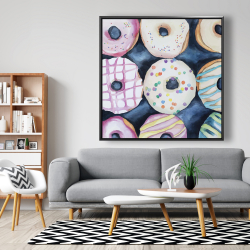 Framed 48 x 48 - Watercolor delicious looking doughtnuts