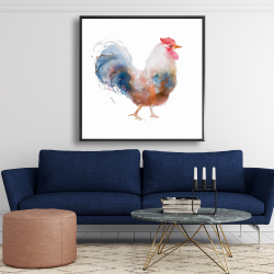 Framed 48 x 48 - Watercolor rooster