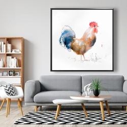 Framed 48 x 48 - Rooster watercolor style