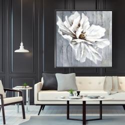Framed 48 x 48 - Flower on wood