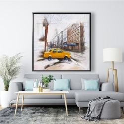 Framed 48 x 48 - Taxi in the street sketch