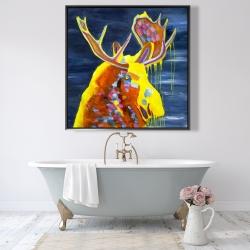 Framed 48 x 48 - Colorful moose