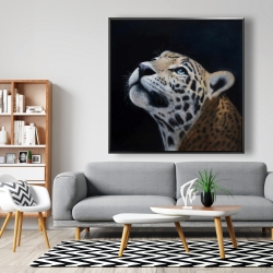 Framed 48 x 48 - Realistic leopard face
