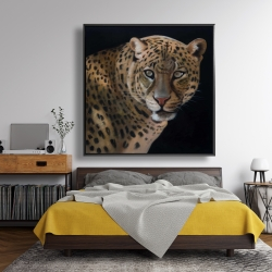 Framed 48 x 48 - Realistic fierce leopard