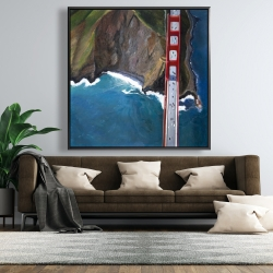 Framed 48 x 48 - Overhead view of the golden gate and mountains