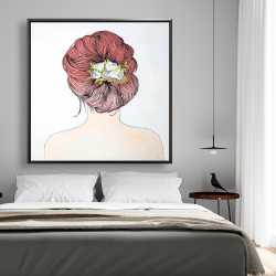 Framed 48 x 48 - Lady with flowers in her hair