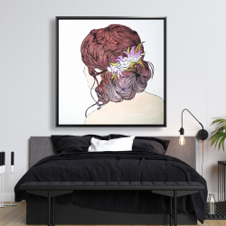 Framed 48 x 48 - Woman from behind with flowers