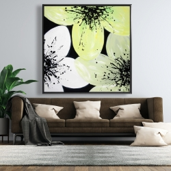 Framed 48 x 48 - White & yellow petals