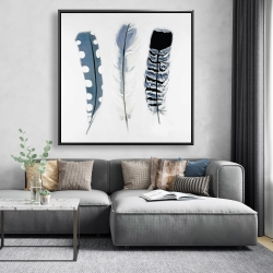 Framed 48 x 48 - Delicate blue feathers