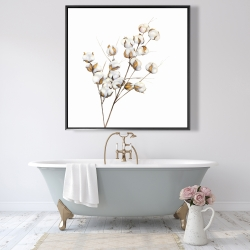Framed 48 x 48 - A branch of cotton flowers