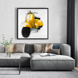 Framed 48 x 48 - Yellow italian scooter