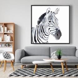 Framed 48 x 48 - Watercolor zebra