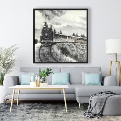 Framed 48 x 48 - Steam engine train