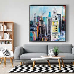 Framed 48 x 48 - Colorful cityscape of manhattan
