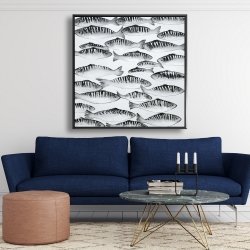 Framed 48 x 48 - Gray shoal of fish