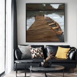 Framed 48 x 48 - Lake, dock and boat