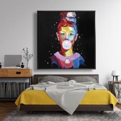 Framed 48 x 48 - Colorful audrey hepburn portrait with bubblegum