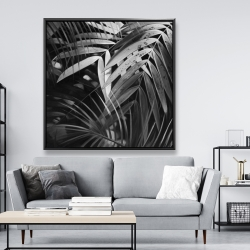 Framed 48 x 48 - Monochrome tropicals leaves