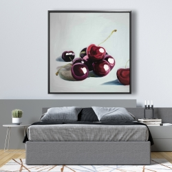 Framed 48 x 48 - Glossy dark cherries