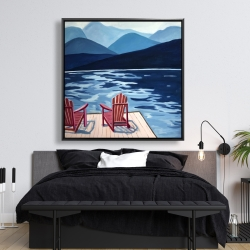 Framed 48 x 48 - Lake, dock, mountains & chairs