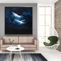 Framed 48 x 48 - Two swimming dolphins
