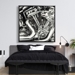 Framed 48 x 48 - Mechanism of a motorcycle