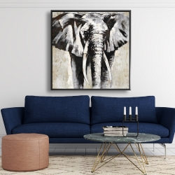 Framed 48 x 48 - Grayscale elephant