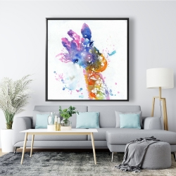 Framed 48 x 48 - Abstract giraffe with color splash